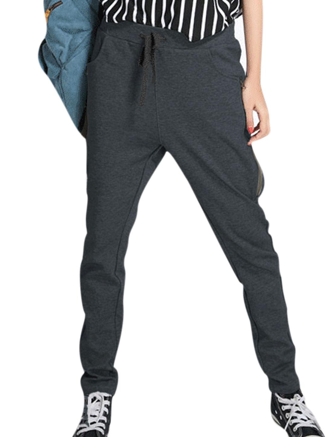 Women Drawstring Elastic Waist Zip Up Sides Casual Pants Dark Gray S