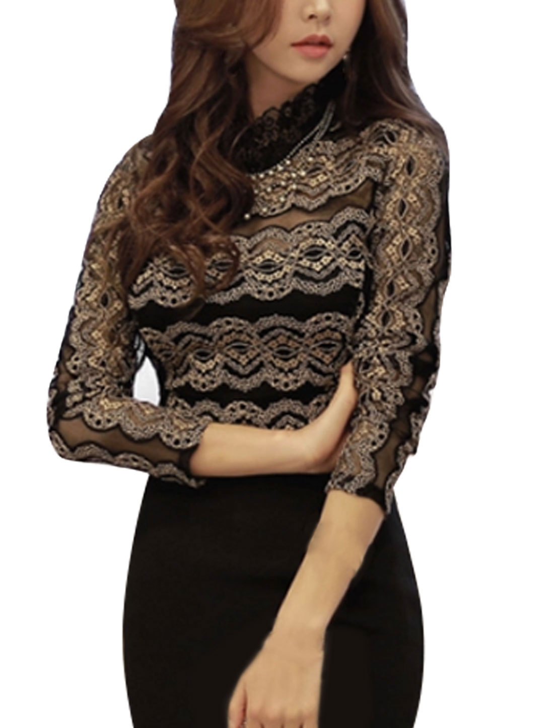 Women Stand Collar Long Sleeves Scalloped Design Lace Top Black S