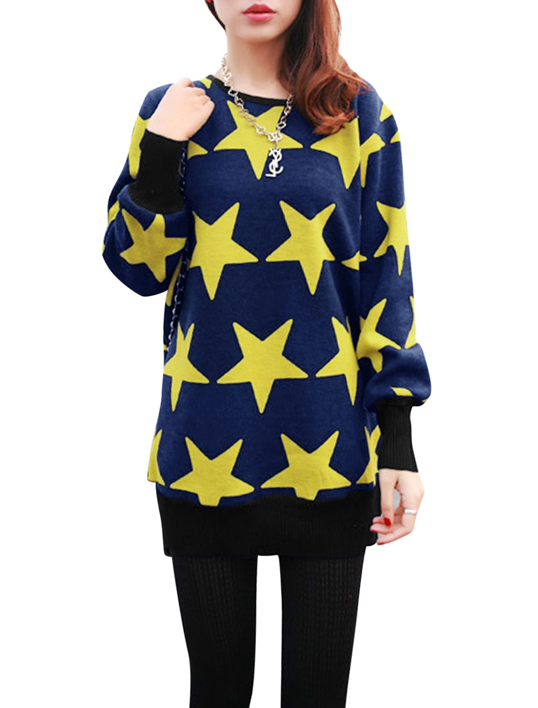 Lady Royal Blue Stars Prints Pullover Color Block Tunic Knit Shirt S