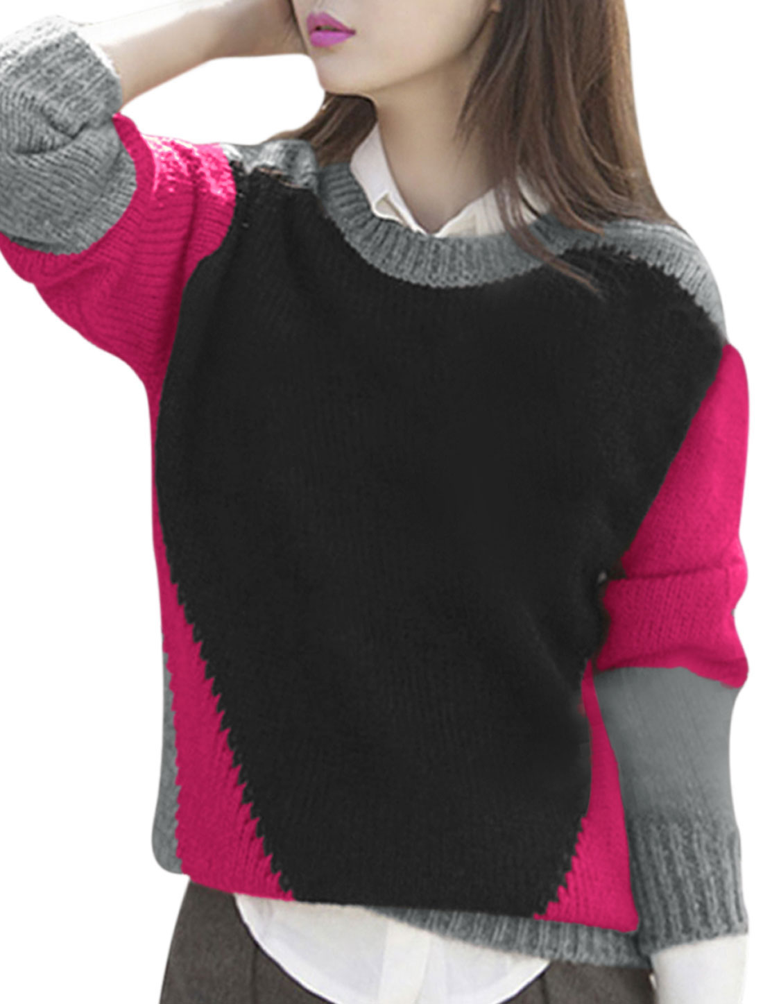 Women Round Neck Contrast Color Long Sleeves Casual Sweater Black Gray XS
