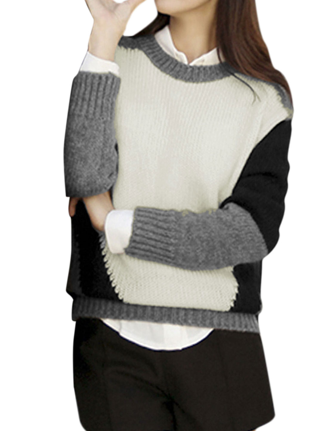 Women Round Neck Color Blocking Pullover Casual Sweater White Gray XS