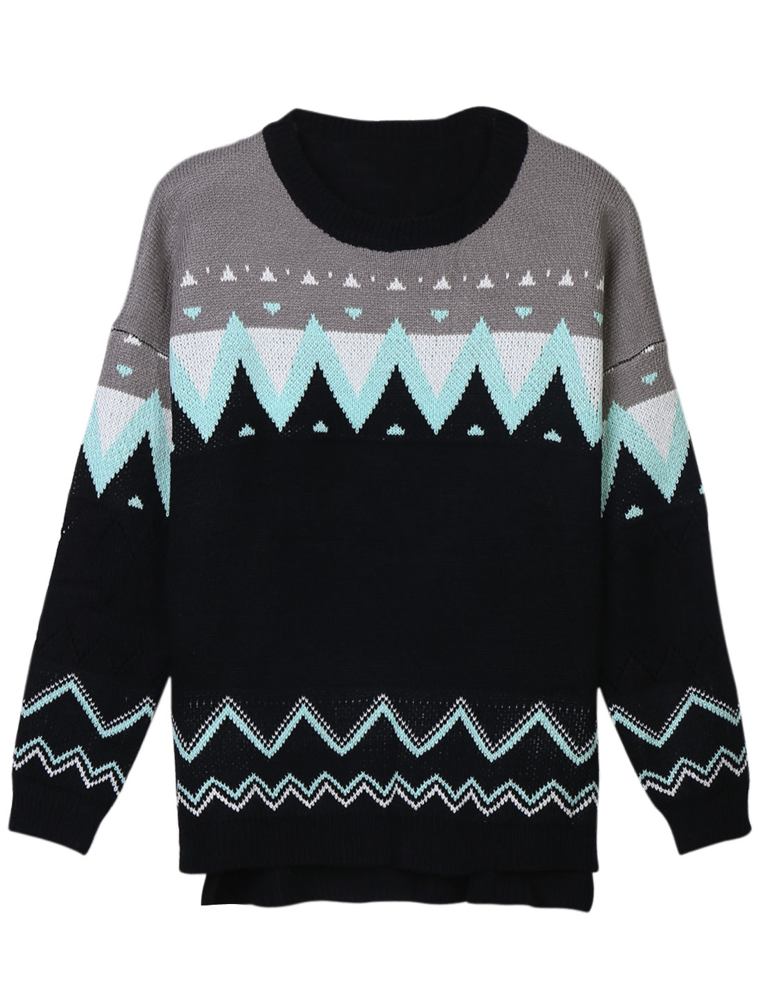 Women Round Neck Long Sleeves Zig-Zag Pattern Casual Knitted Top Black S