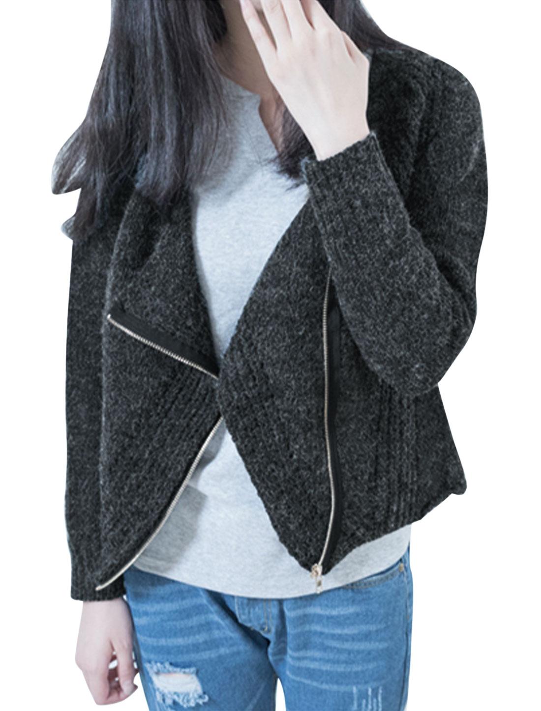Women Convertible Collar Raglan Sleeves Trendy Knitted Cardigan Dark Gray M
