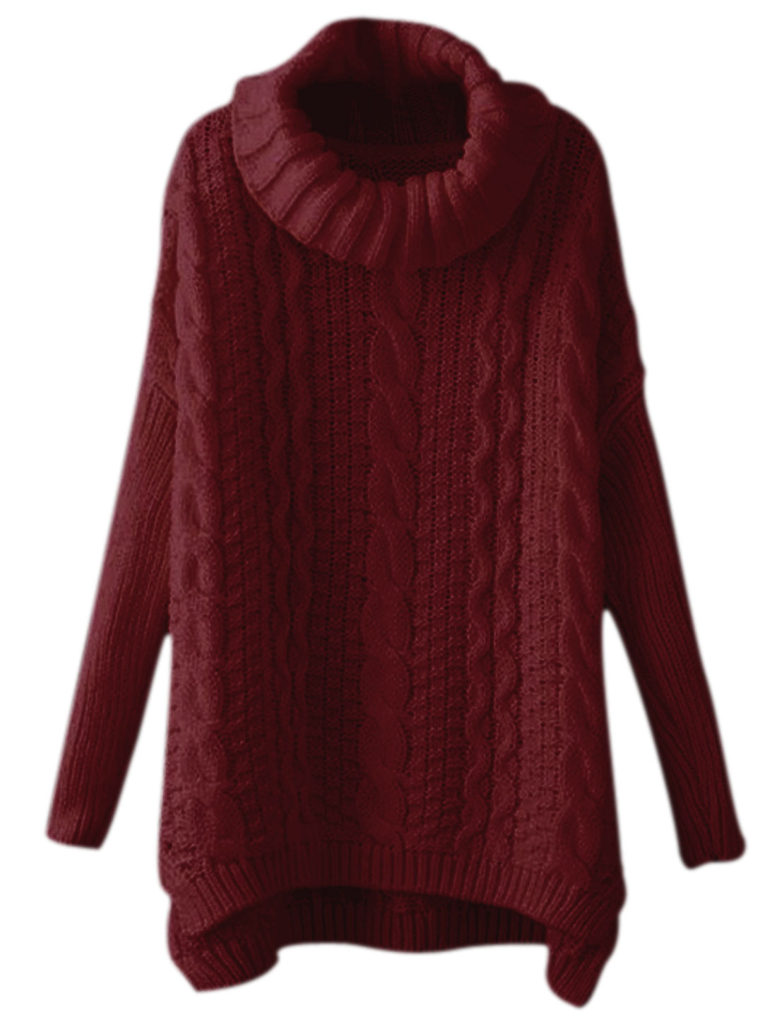 Women Turtle Neck Braided Design Batwing Tunic Sweater Burgundy M