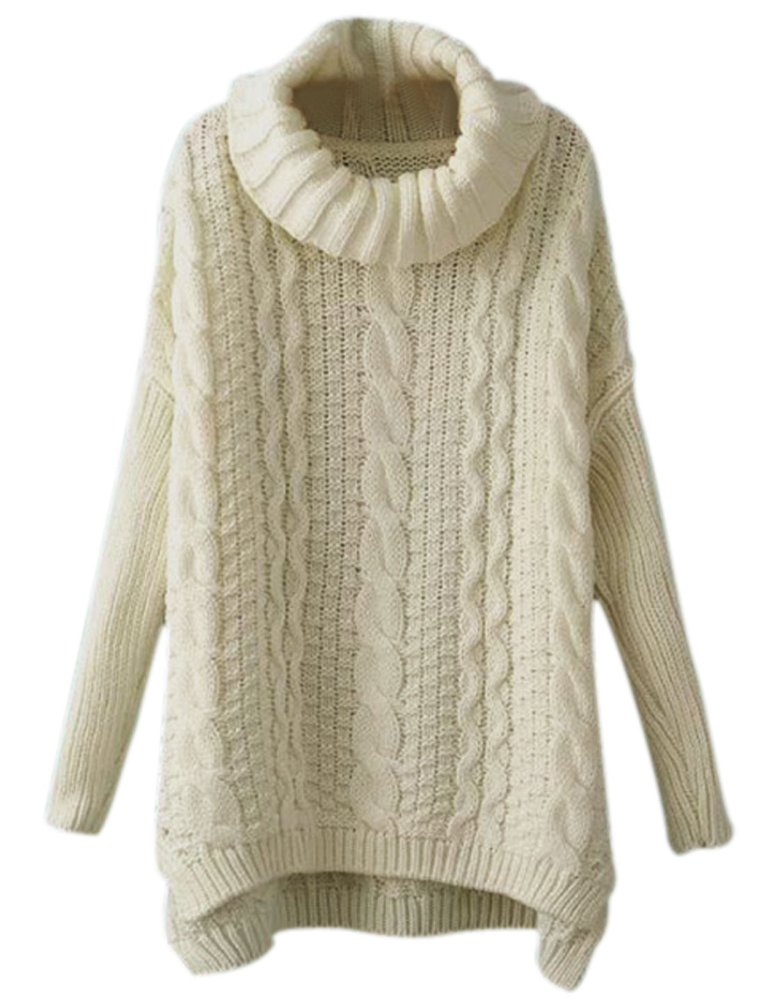 Low High Hem Turtle Neck Pullover Beige Tunic Sweater for Lady M