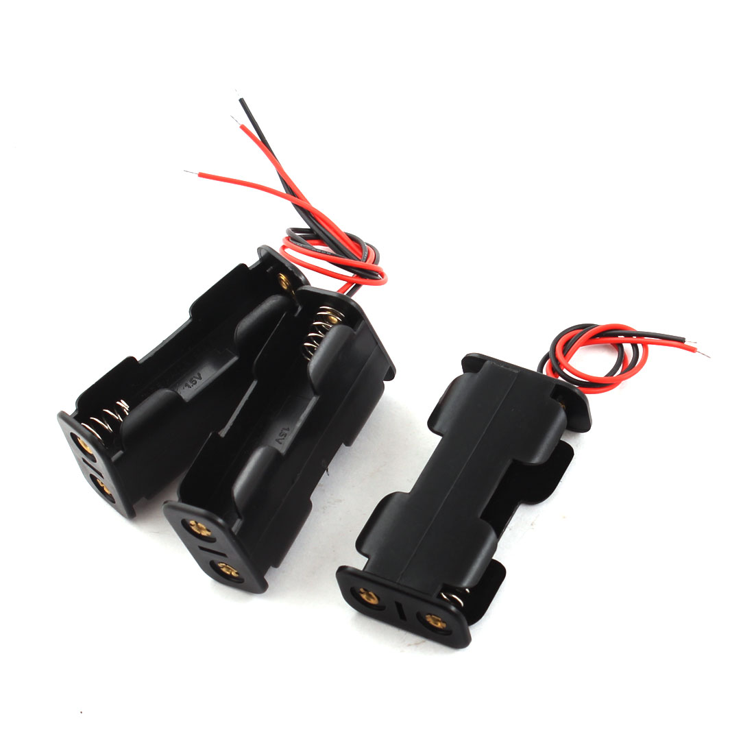 3pcs Wired Plastic Battery Holder Case Box for 2 x AA 1.5V Batteries