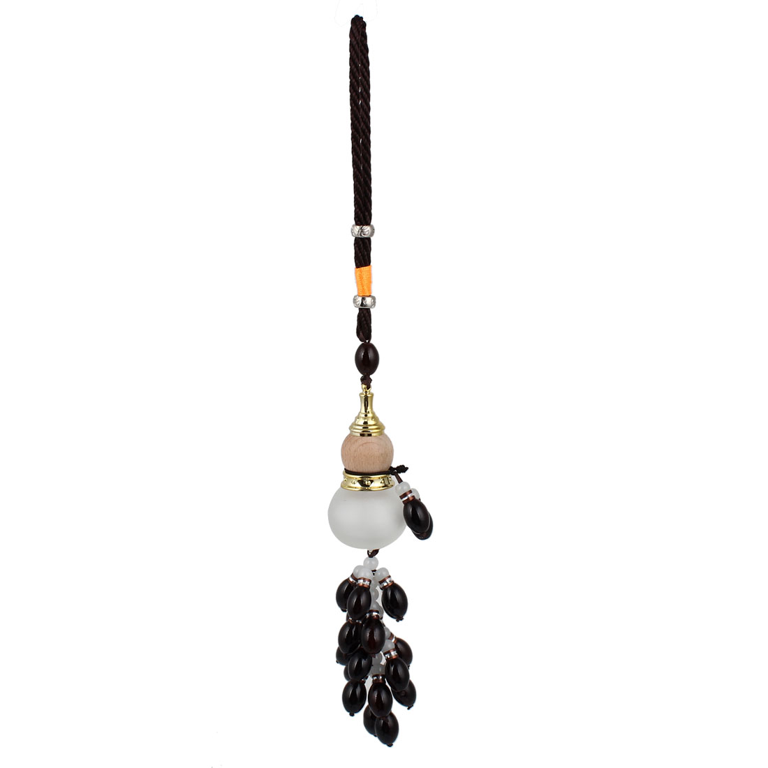 Auto Car Nylon String Wooden Glass Calabash Pendant Hanging Ornament Black
