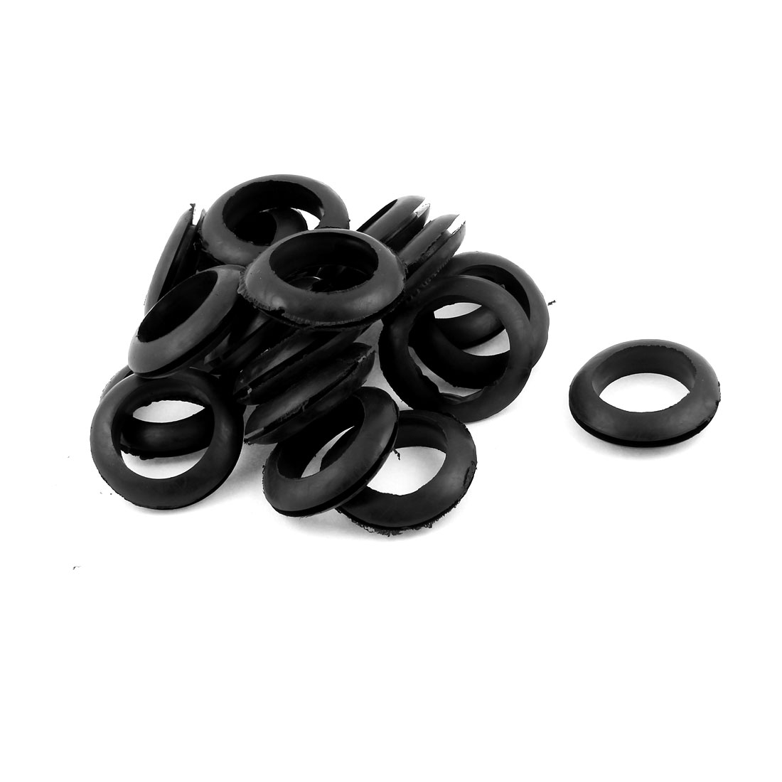 20 Pcs Black Rubber 30mm Open Hole Ring Dual Side Cable Wiring Grommet