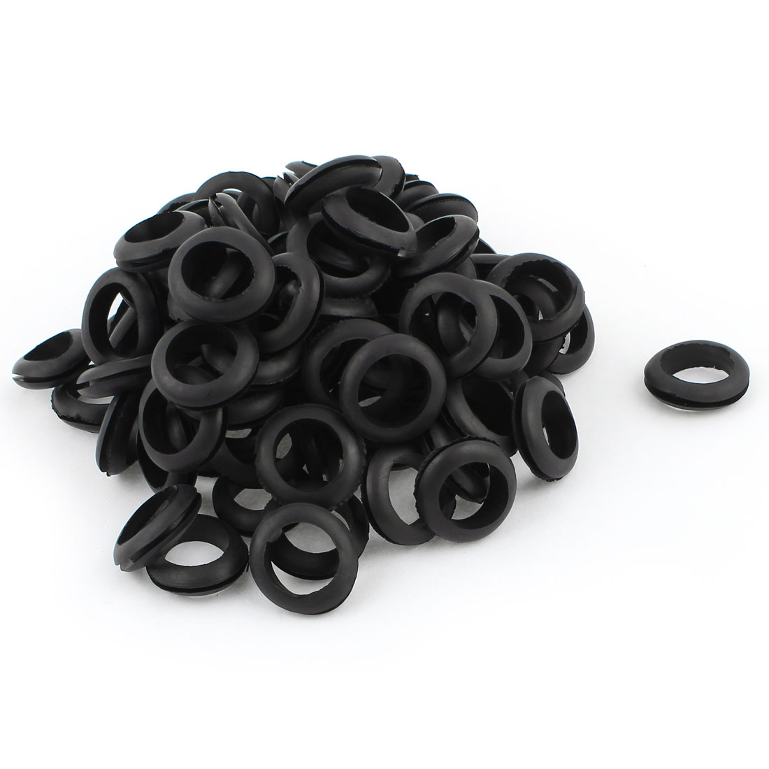 100 Pcs Black Rubber 18mm Open Hole Ring Dual Side Cable Wiring Grommet