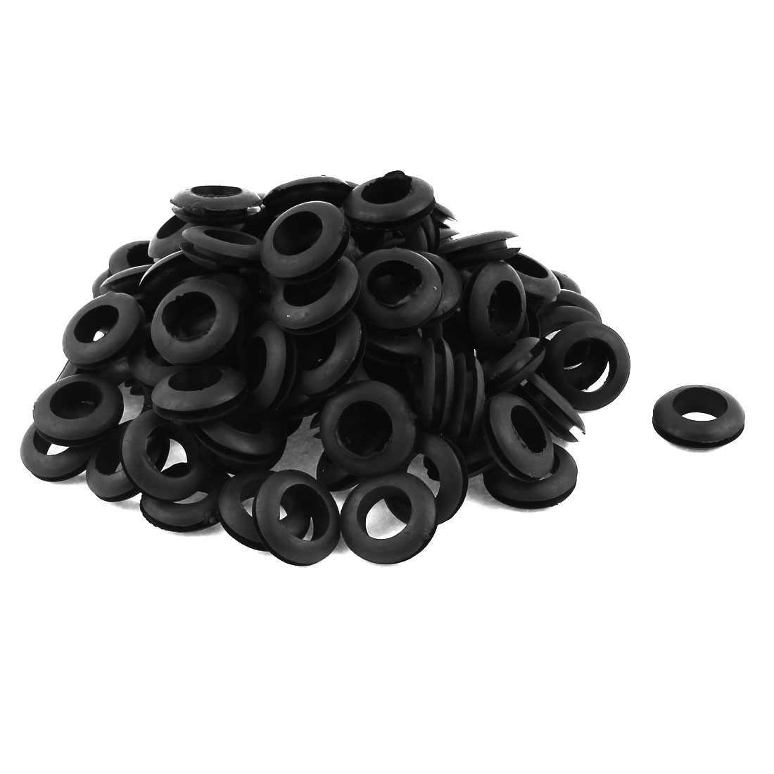 100 Pcs Black Rubber 14mm Open Hole Ring Dual Side Cable Wiring Grommet