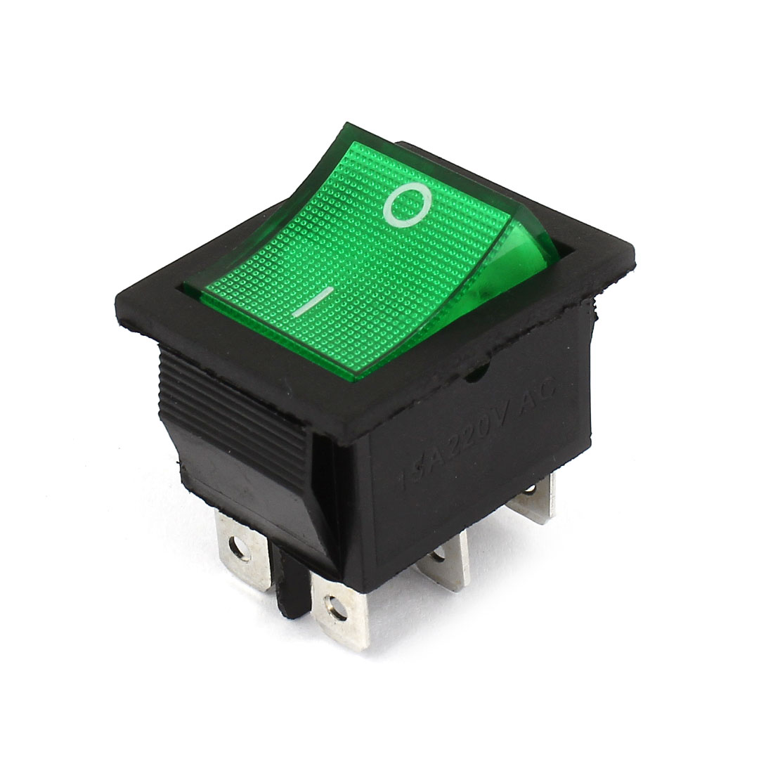 AC220V 15A 6 Pin DPDT ON/OFF 2 Position Green Indicator Rocker Switch
