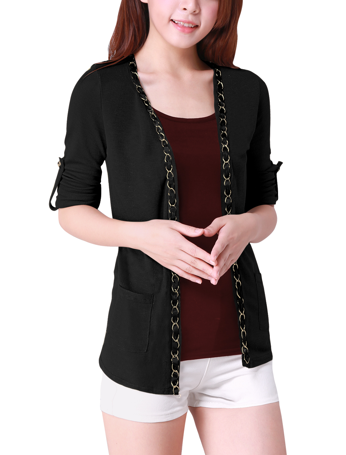 Ladies Front Opening Chain Decor Rolled Up Sleeves Cardigan Black XL