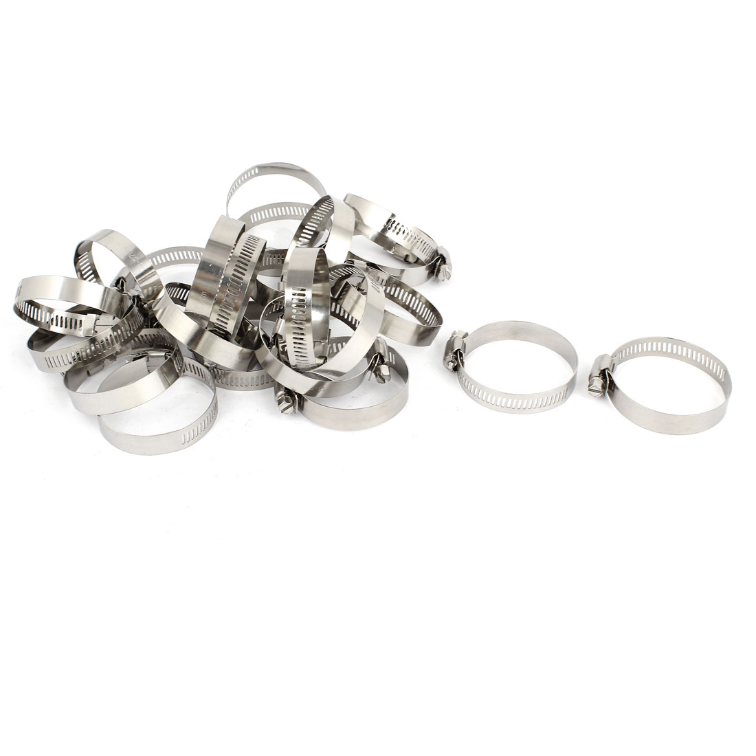 25 Pcs 33-57mm Stainless Steel Adjustable Hollow Out Band Worm Drive Hose Clamps