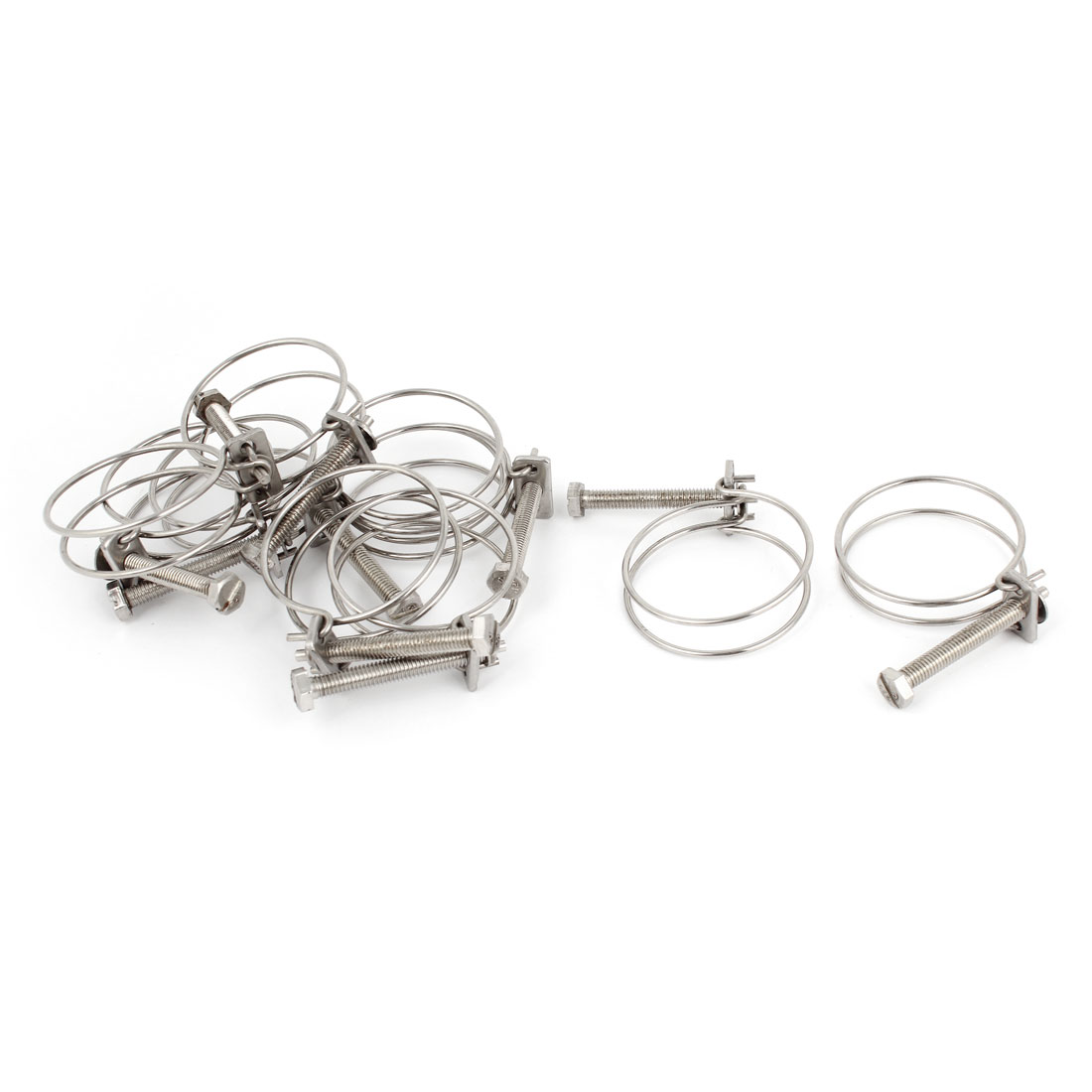 10 Pcs 44mm Diameter Stainless Steel Double Wire Adjustable Hose Clamps