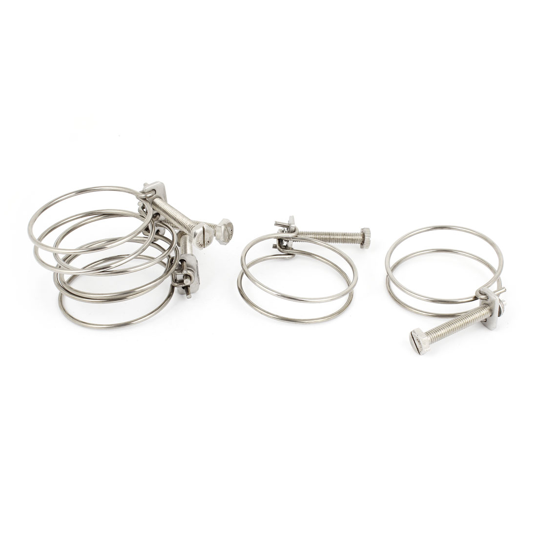 Adjustable 64mmx3mm Stainless Steel Water Tube Wire Hose Clamps 5 Pcs