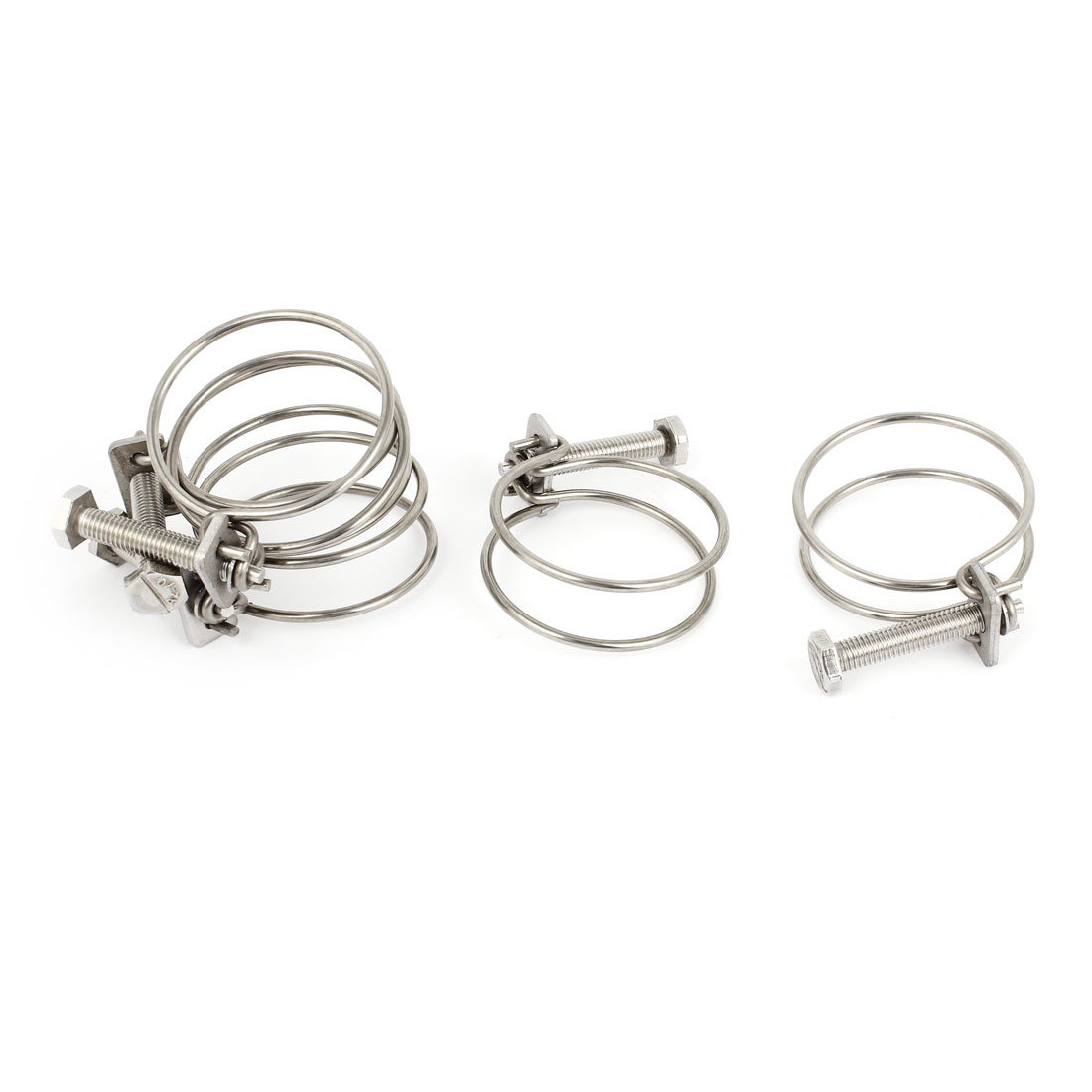 5 Pcs 54mmx3mm Double Wire Adjustable Hose Clamps Hoops Silver Tone