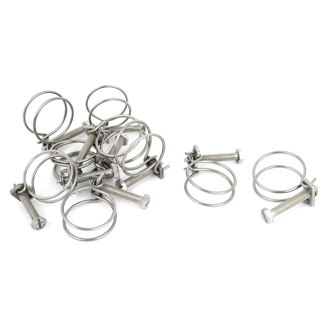 10 Pcs 32mmx2mm Adjustable Dual Steel Wire Water Tube Hose Clamps Clips