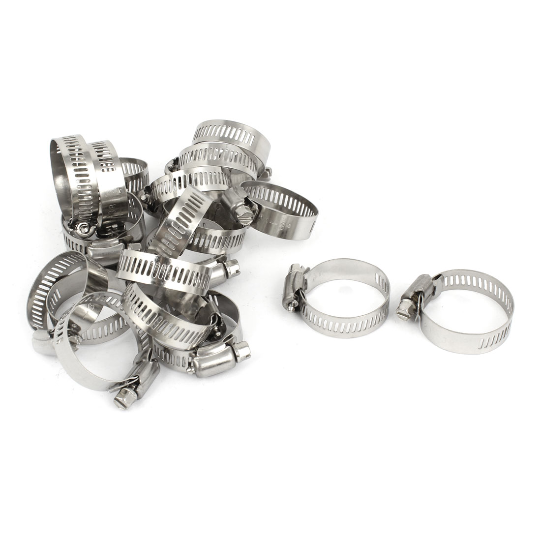 Silver Tone 21-38mm Adjustable Worm Gear Hose Pipe Fitting Clamps 25 Pcs