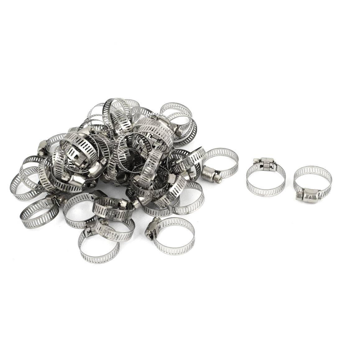 100 Pcs 16-25mm Stainless Steel Adjustable Cut Out Band Worm Drive Hose Clamps