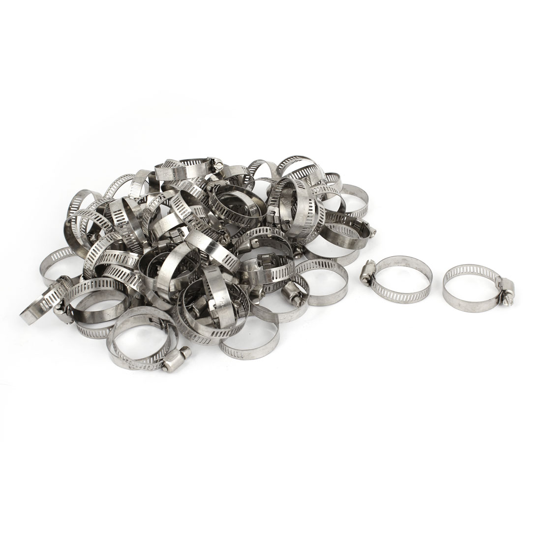 Silver Tone 18 -32mm Adjustable Worm Gear Hose Pipe Fitting Clamps 100 Pcs