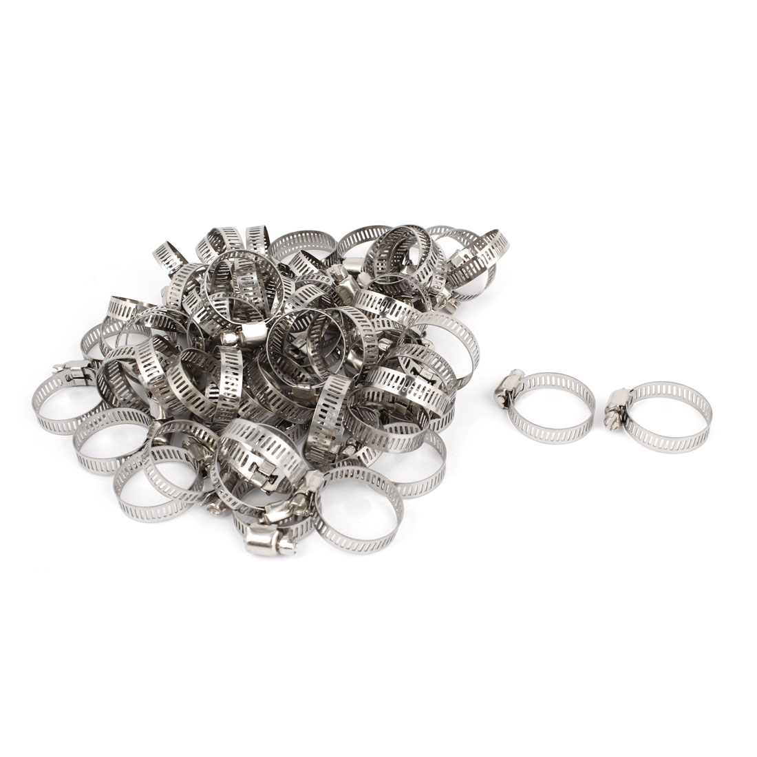 100 Pcs 18-29mm Stainless Steel Cut Out Adjustable Band Worm Drive Hose Clamps