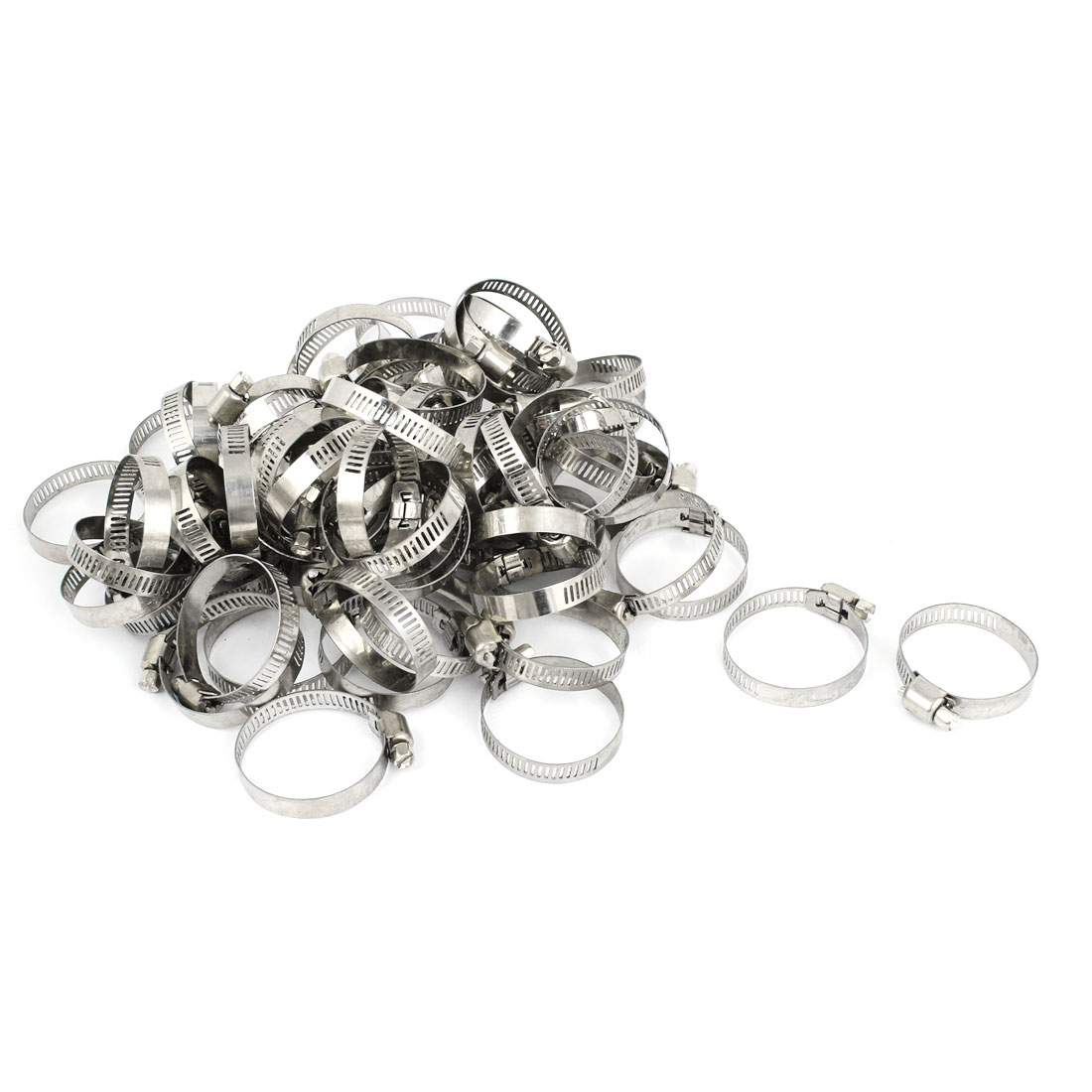 100 Pcs 25-38mm Silver Tone Stainless Steel Adjustable Worm Drive Hose Clamps