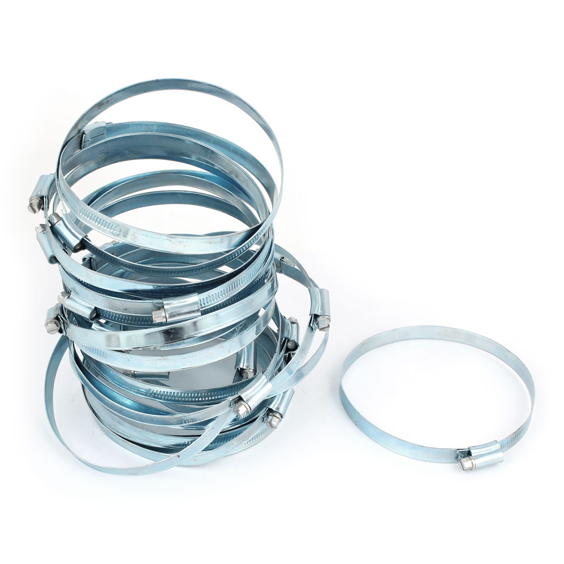 Silver Tone Adjustable 110 -130mm Hose Clamps Fastener 12mm Wide 20 Pcs