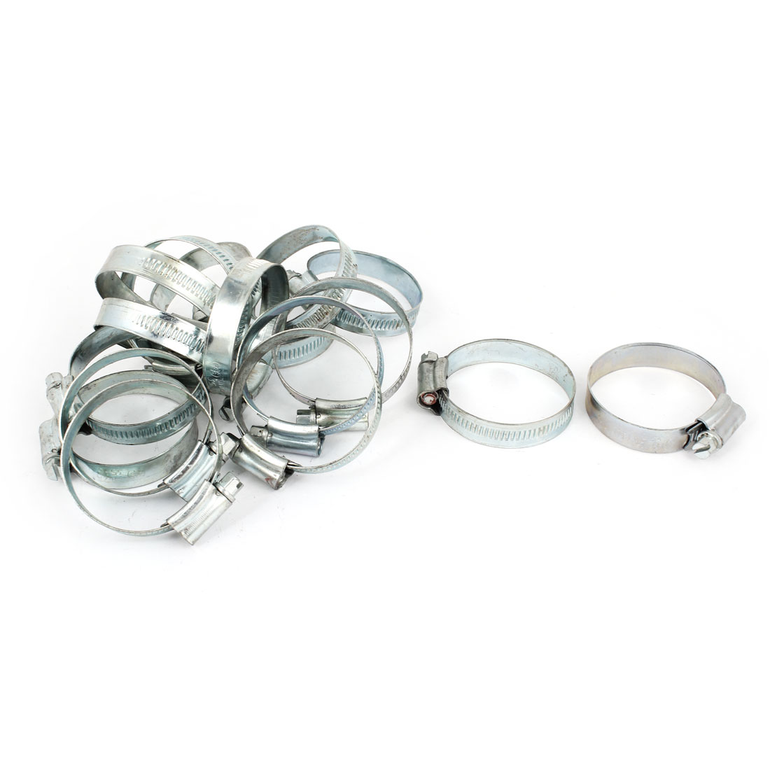 Silver Tone 35 - 51mm Adjustable Worm Gear Hose Pipe Fitting Clamps 20 Pcs