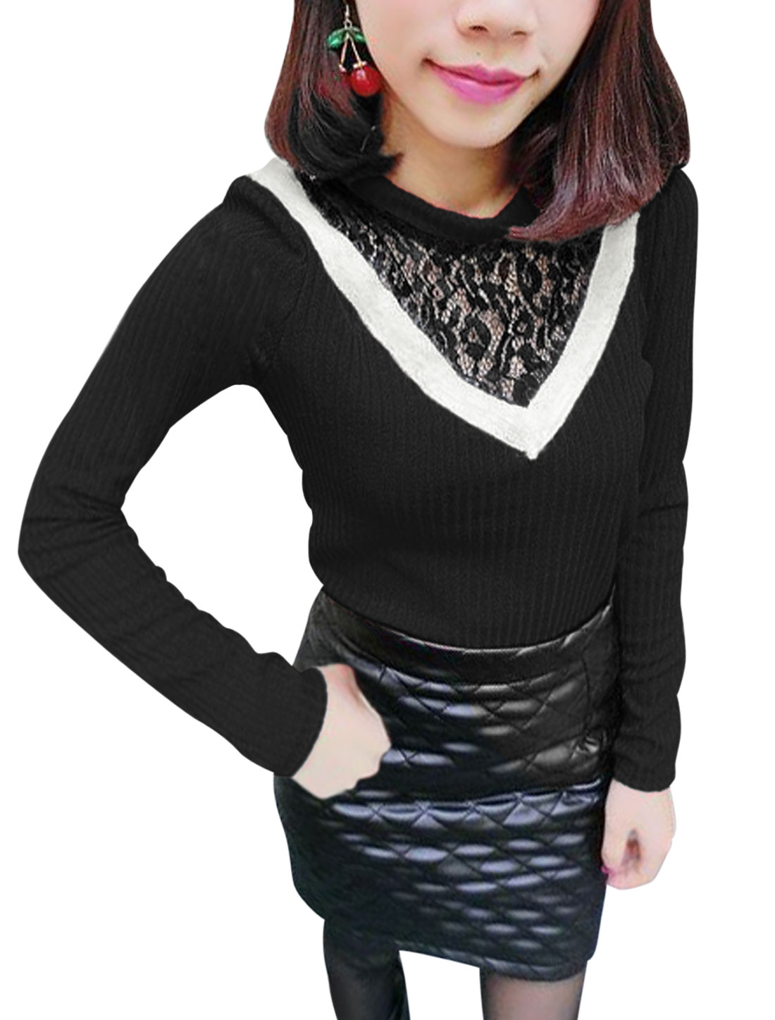 Women Lace Spliced Long Sleeves Slim Fit Knit Shirt Black XS