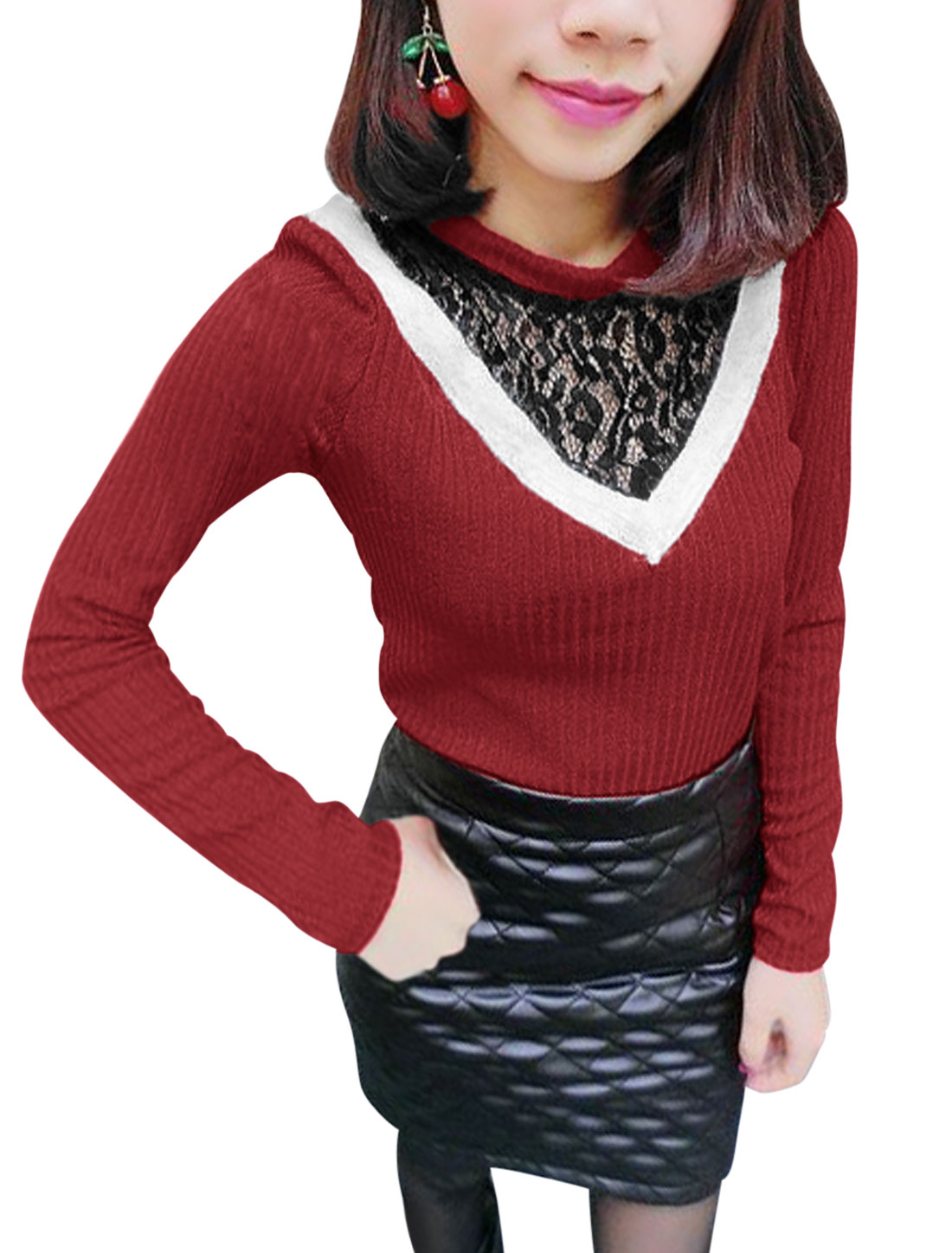 Ladies Crew Neck Lace Panel Pullover Warm Red Knit Shirt XS