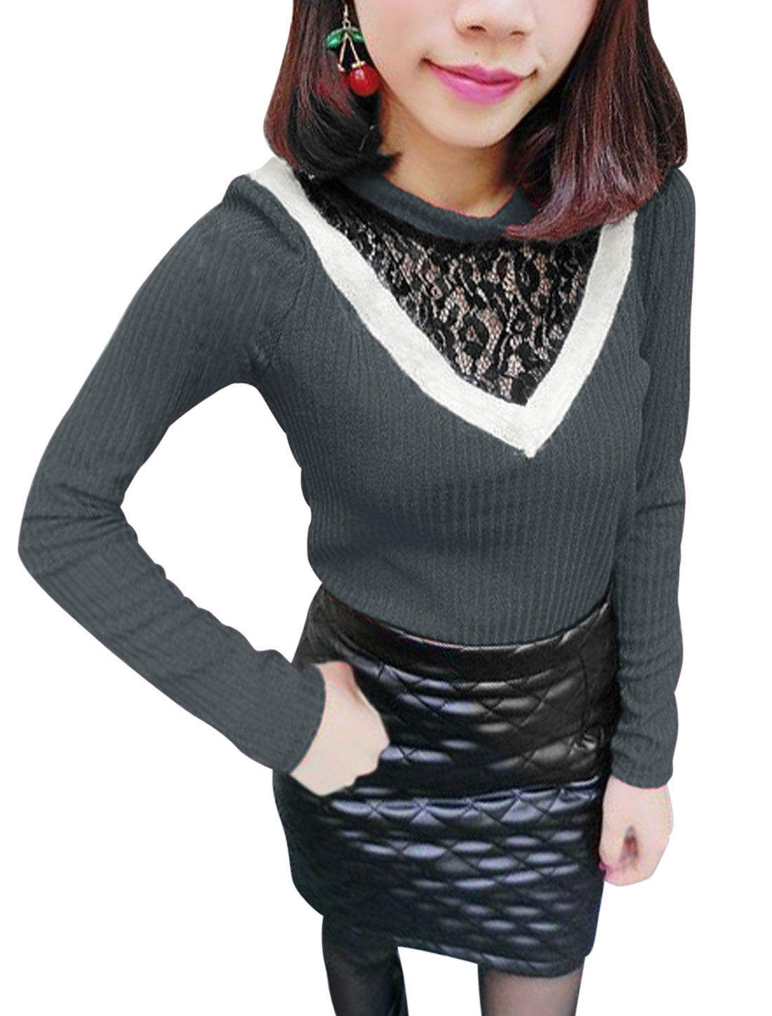 Lace Splicing Stretchy Crew Neck Dark Gray Knit Shirt for Lady XS