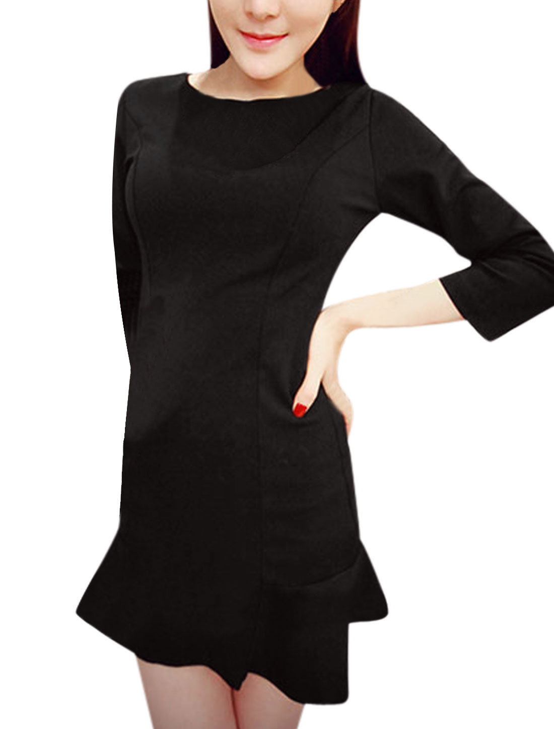 Round Neck 3/4 Sleeves CasualTunic Dress for Women Black XS