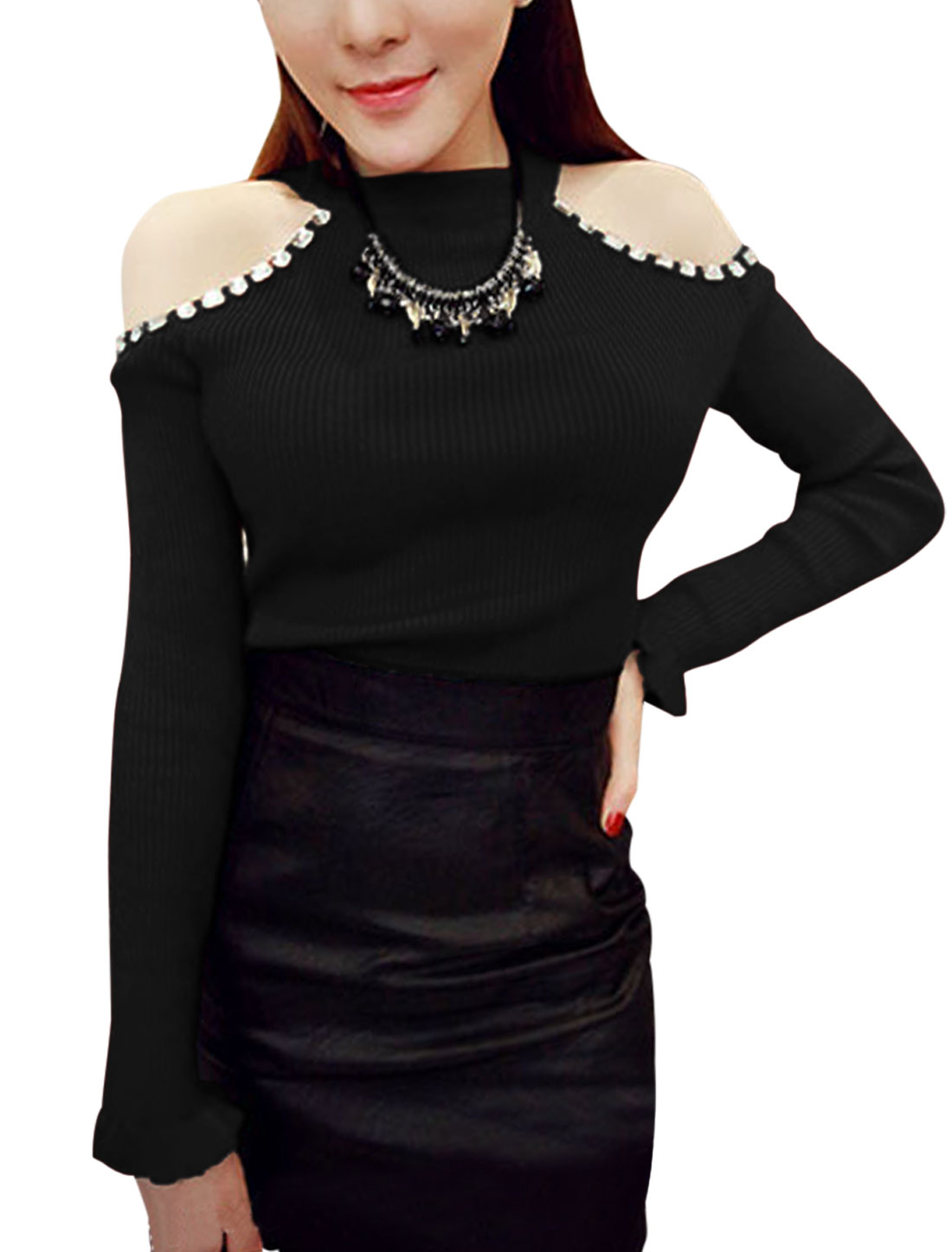 Women Cut Out Shoulder Rhinestone Decor Knit Shirt Black S