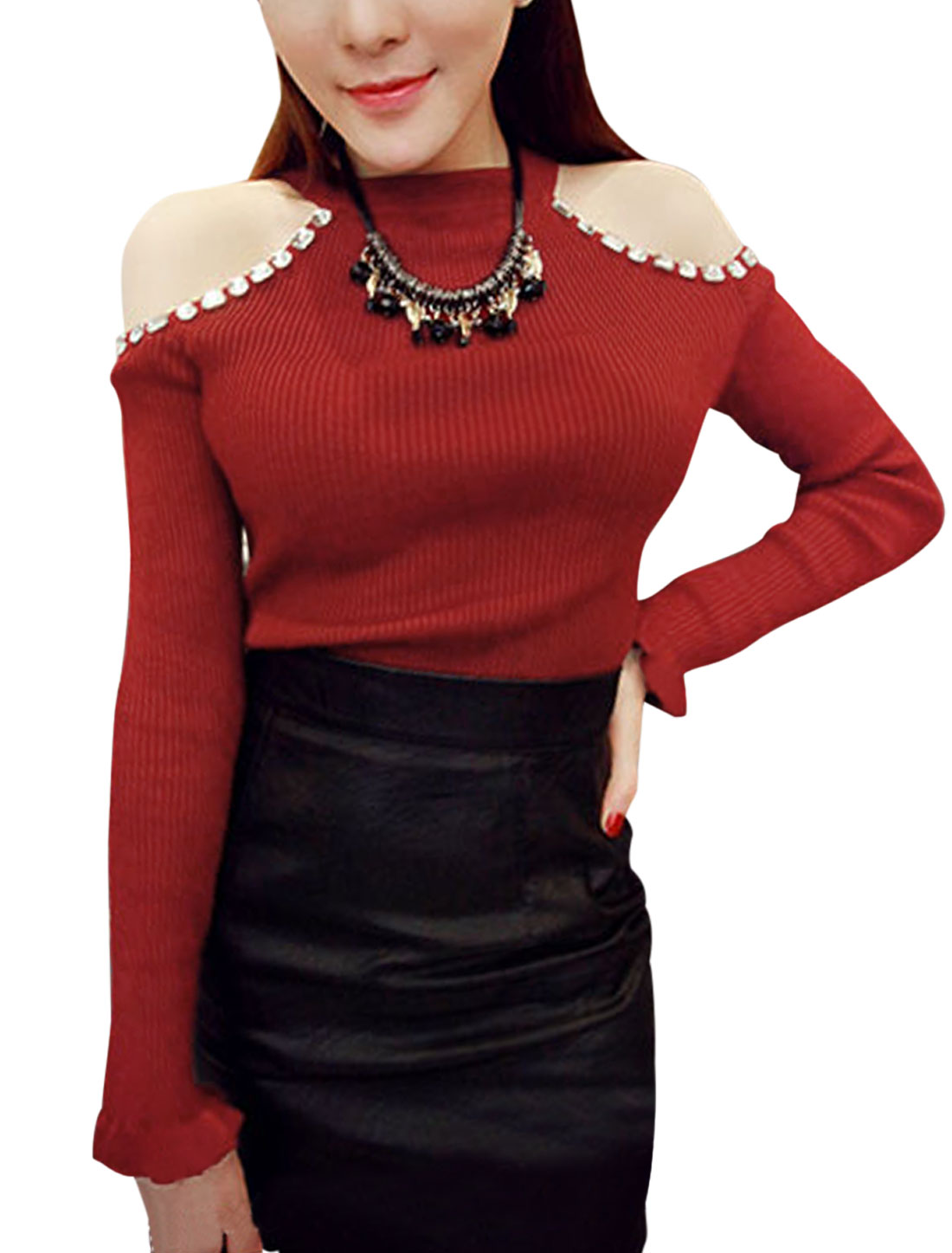 Stretchy Cut Out Shoulder Slim Fit Red Knit Shirt for Women S