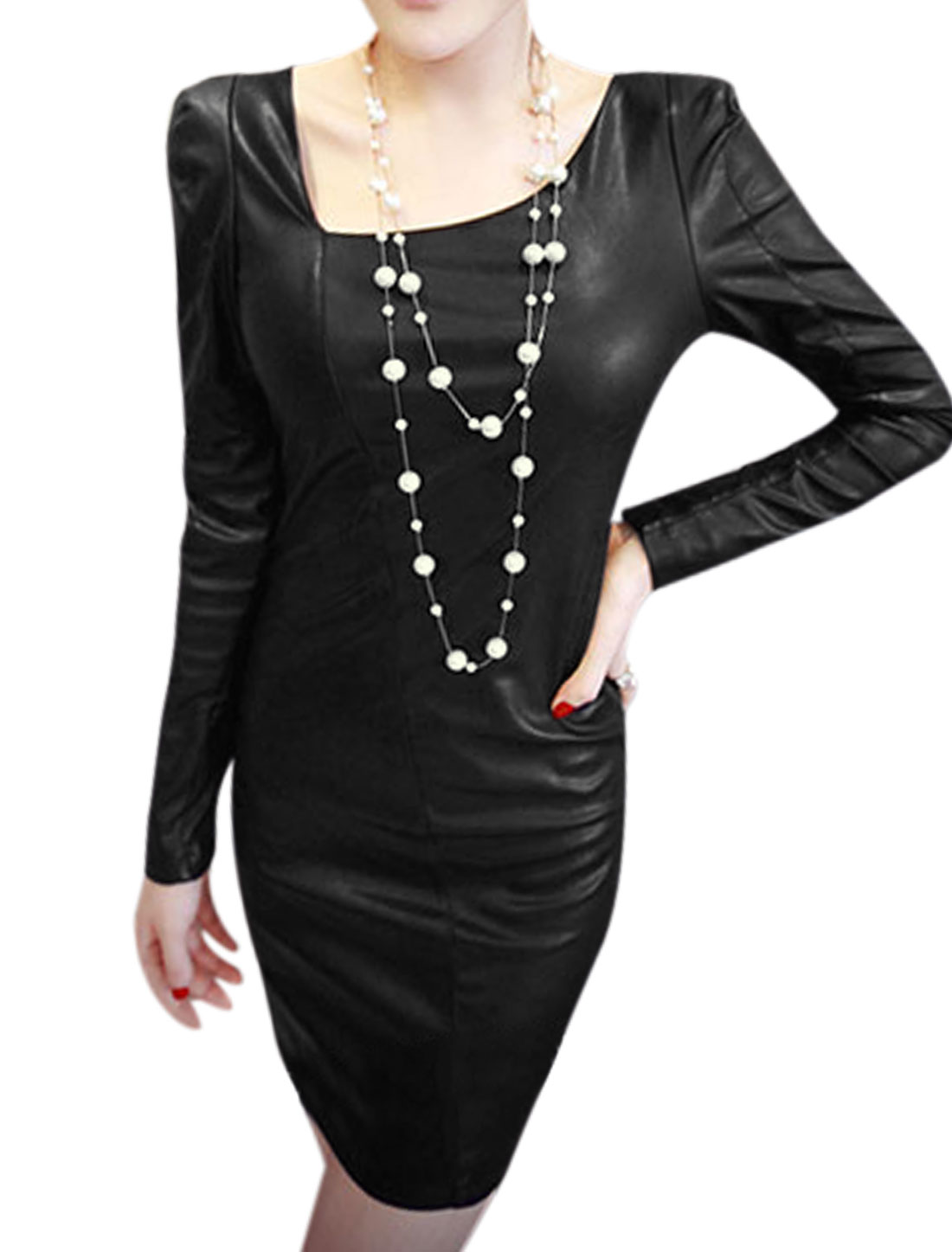 Women Assymetric Neck Long Sleeves Sexy Imitation Leather Dress Black S