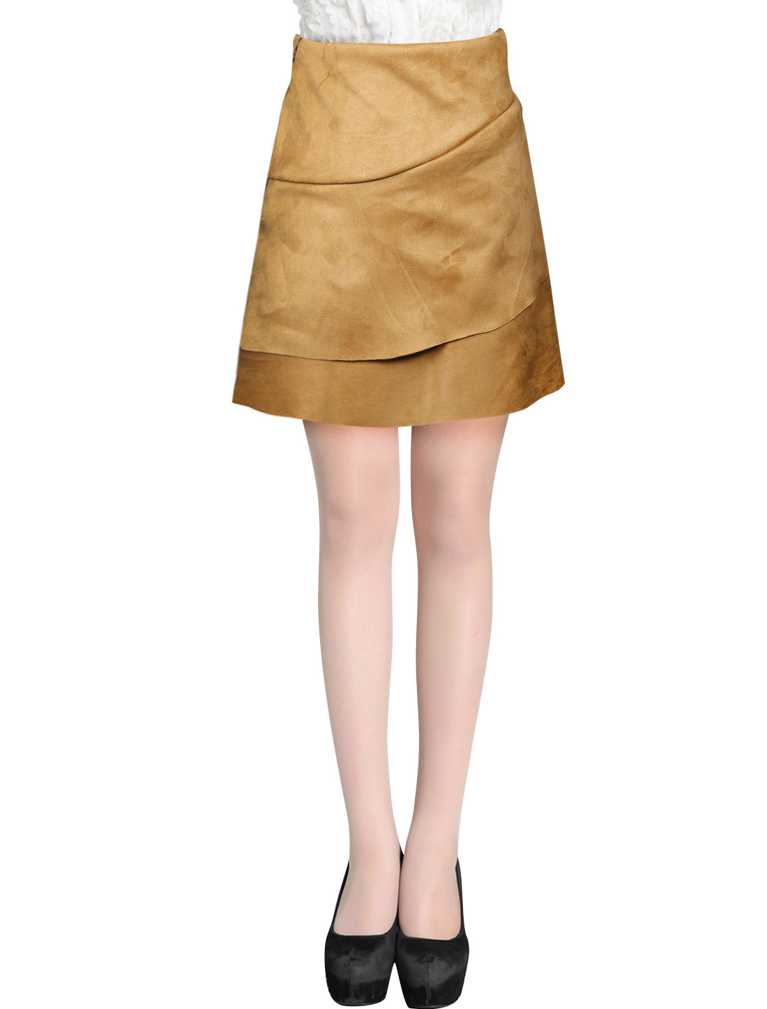 Ladies Khaki High Waist Zip Closure Side Tiered Faux Suede Skirt S