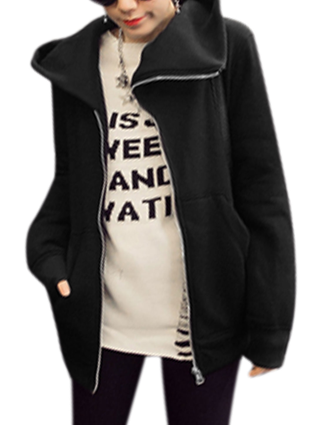 Women Long Sleeves Hooded Zip Closure Leisure Sweatshirt Black XS