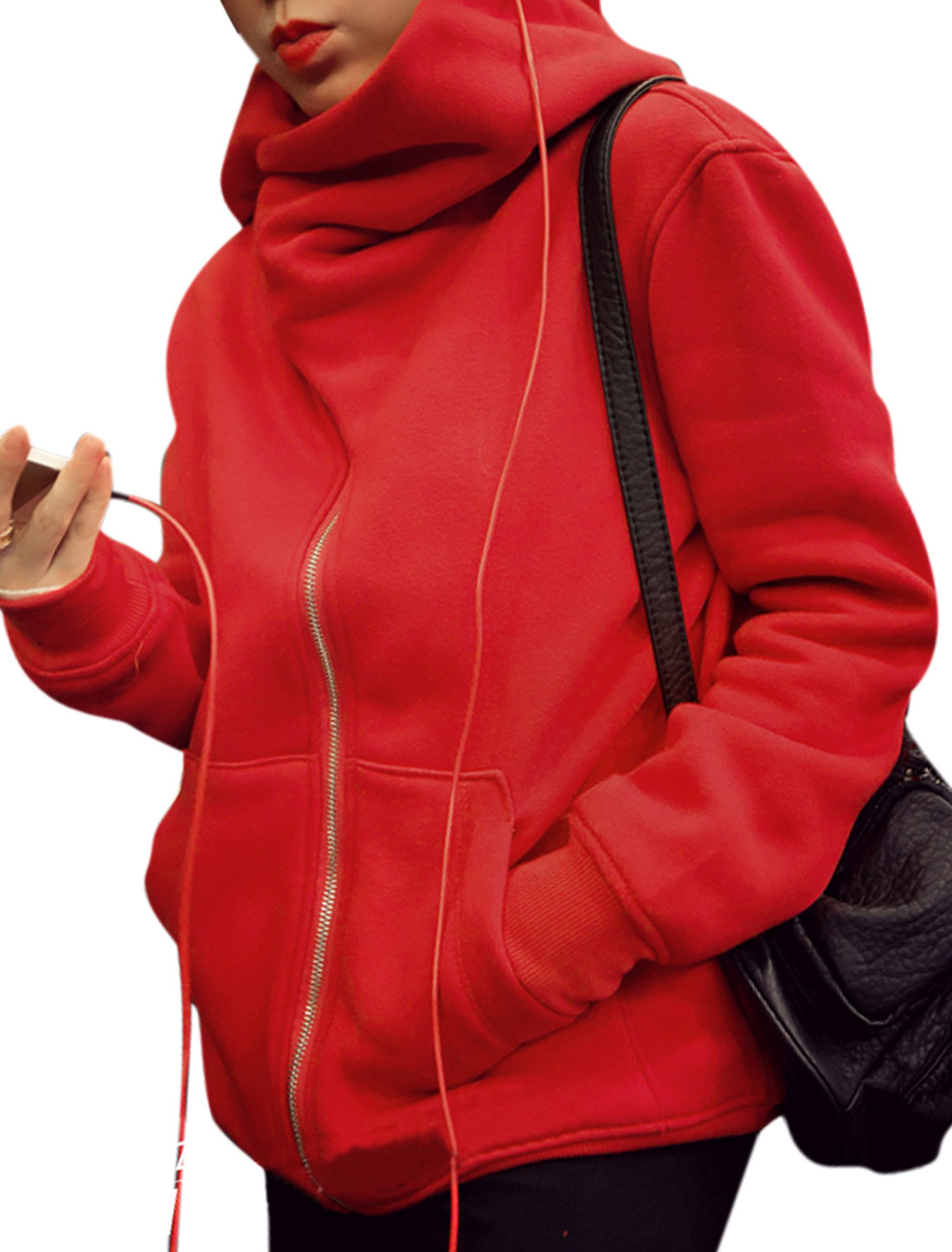 Women Hooded Inclined Zipper New Style Sweatshirt Red XS
