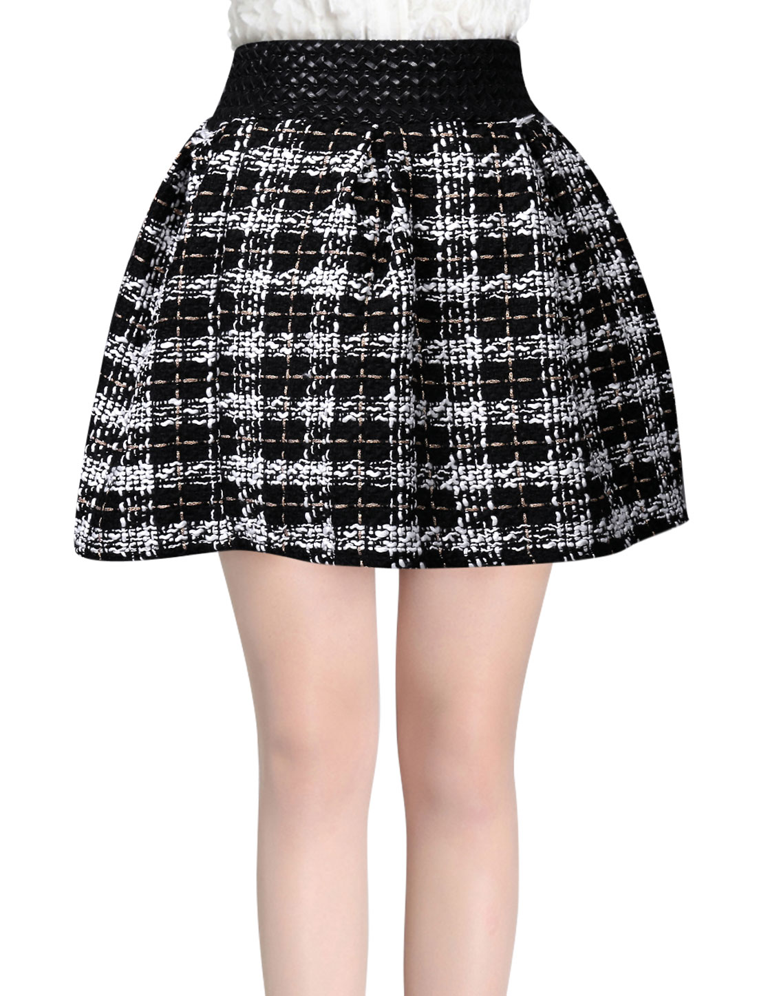 Women Natural Waist Intertexture Design Casual A-Line Skirt Black White XS