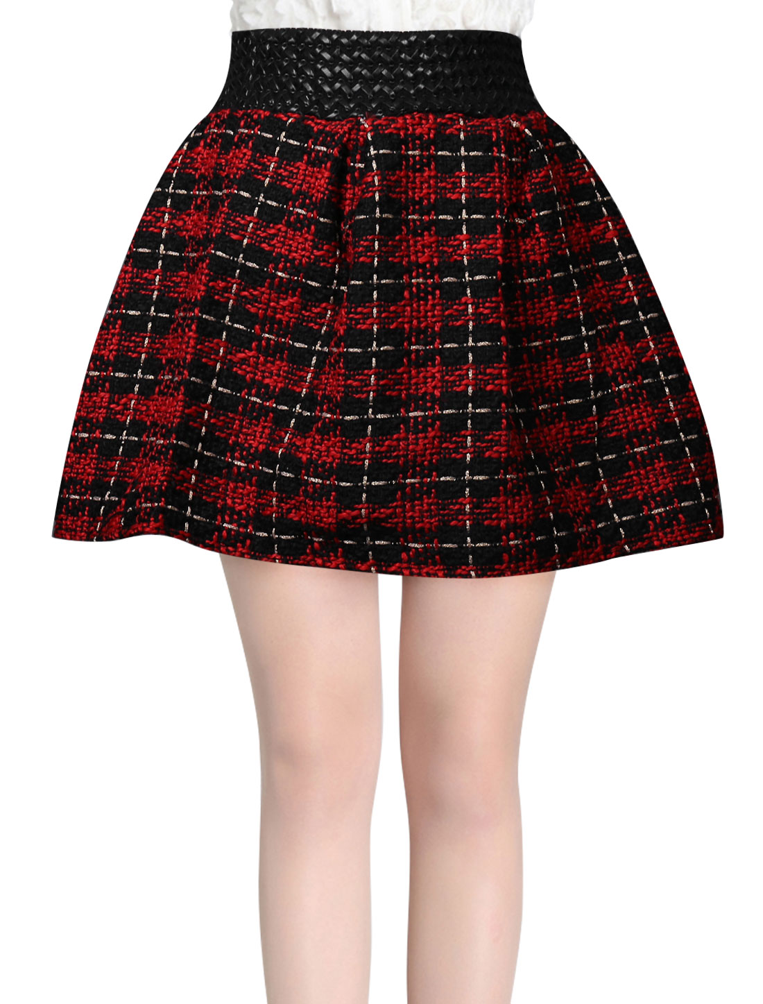Women Stretchy Waist Intertexture Design Mini A-Line Skirt Warm Red Black XS