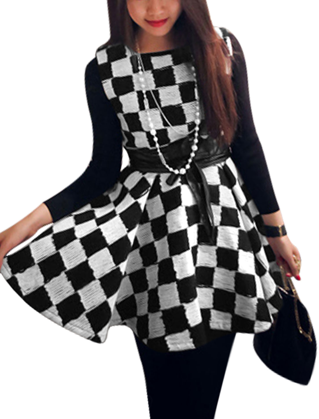 Women Round Neck Sleeveless Ruffled Design Skater Dress Black White XS