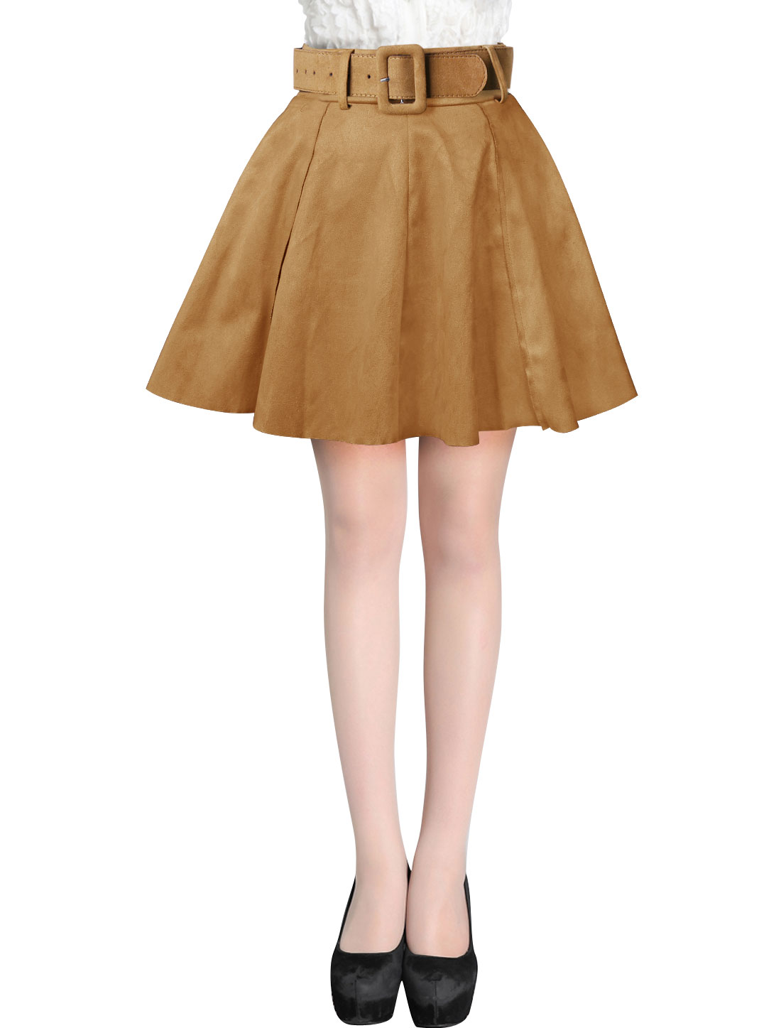 Ladies Camel Mid Rise Belt Loop Zip Up A-Line Faux Suede Skirt w Belt S
