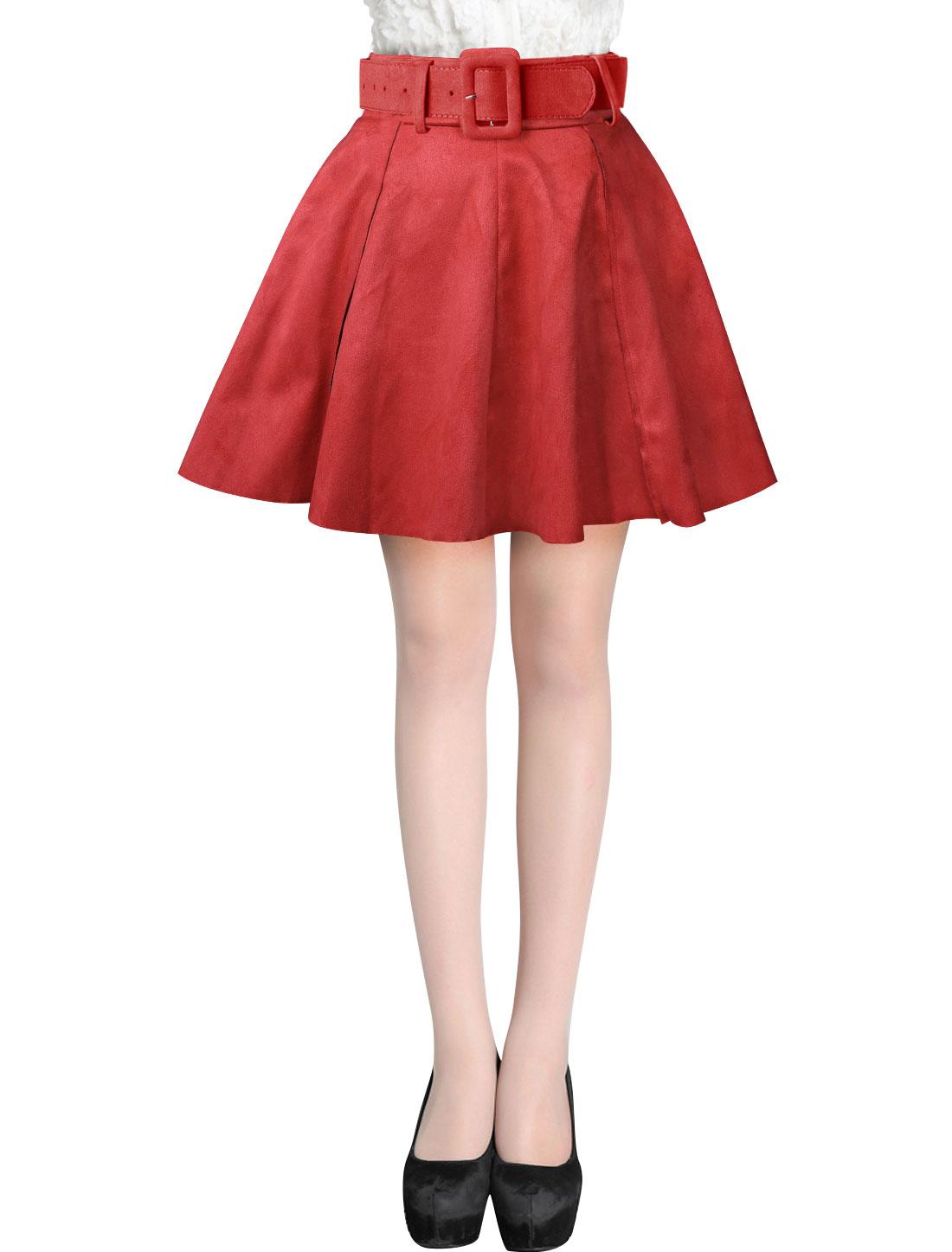 Ladies Red Mid Rise Belt Loop Zip Down A-Line Faux Suede Skirt w Belt M