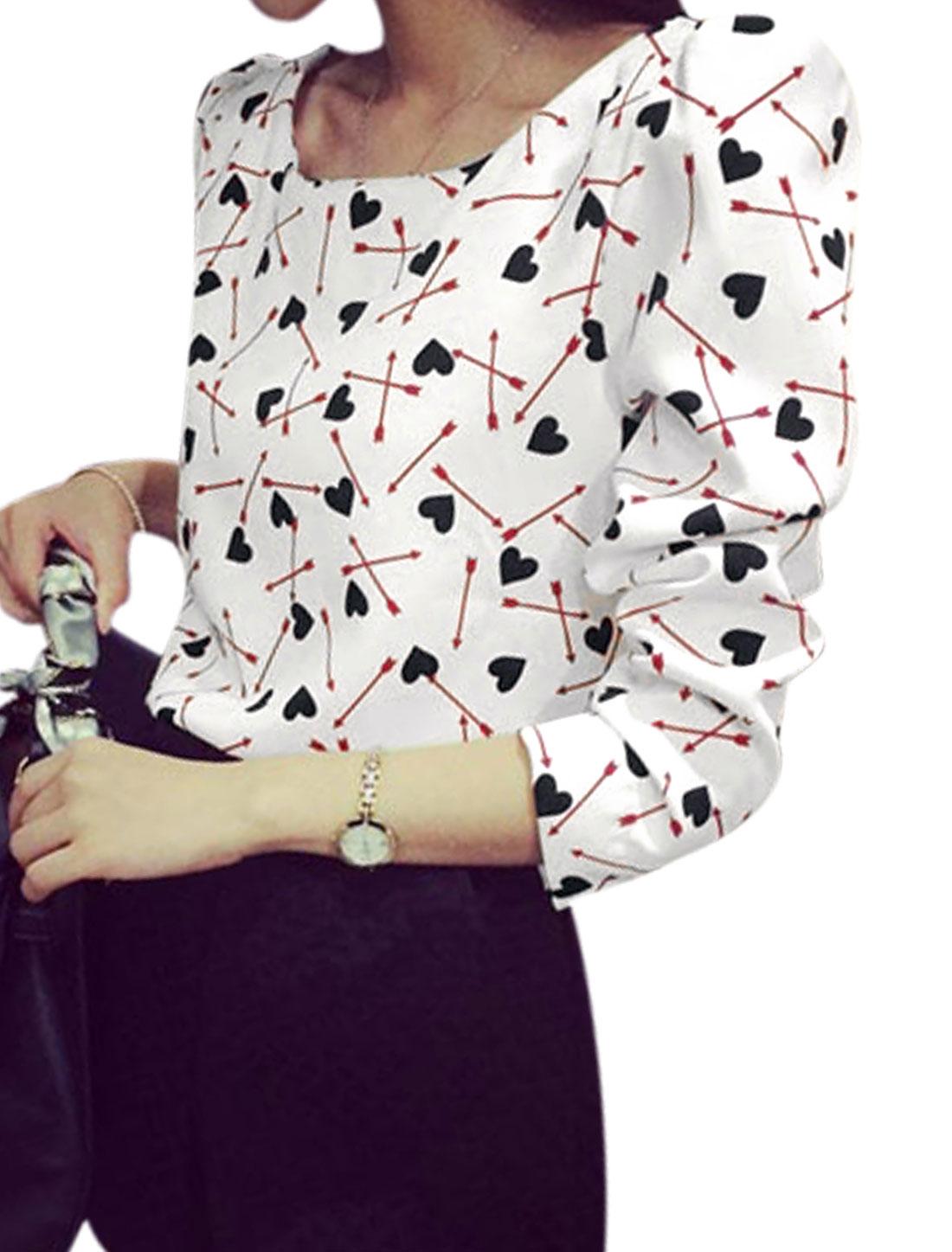 Women Hearts Arrow Pattern Long Sleeve Casual Shirt White XS