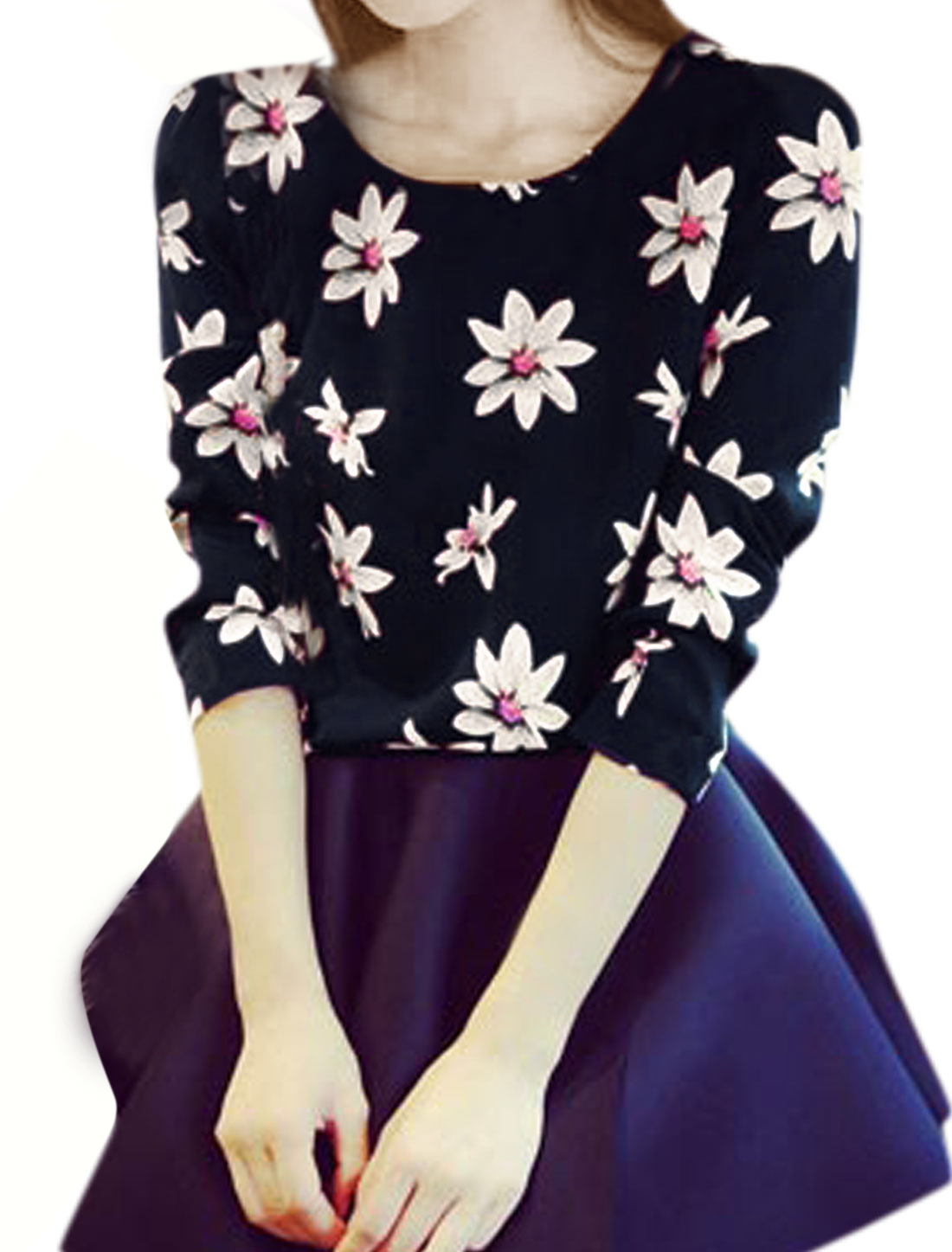 Women Flower Patern Long Sleeves Chic Casual Shirt Navy Blue XS