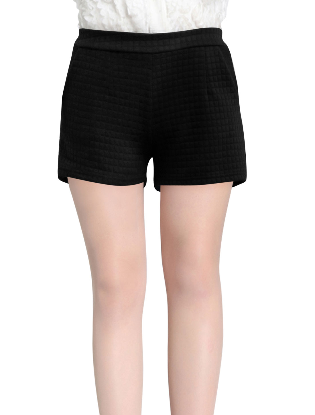 Natural Waist Plaids Design Casual Shorts for Women Black S