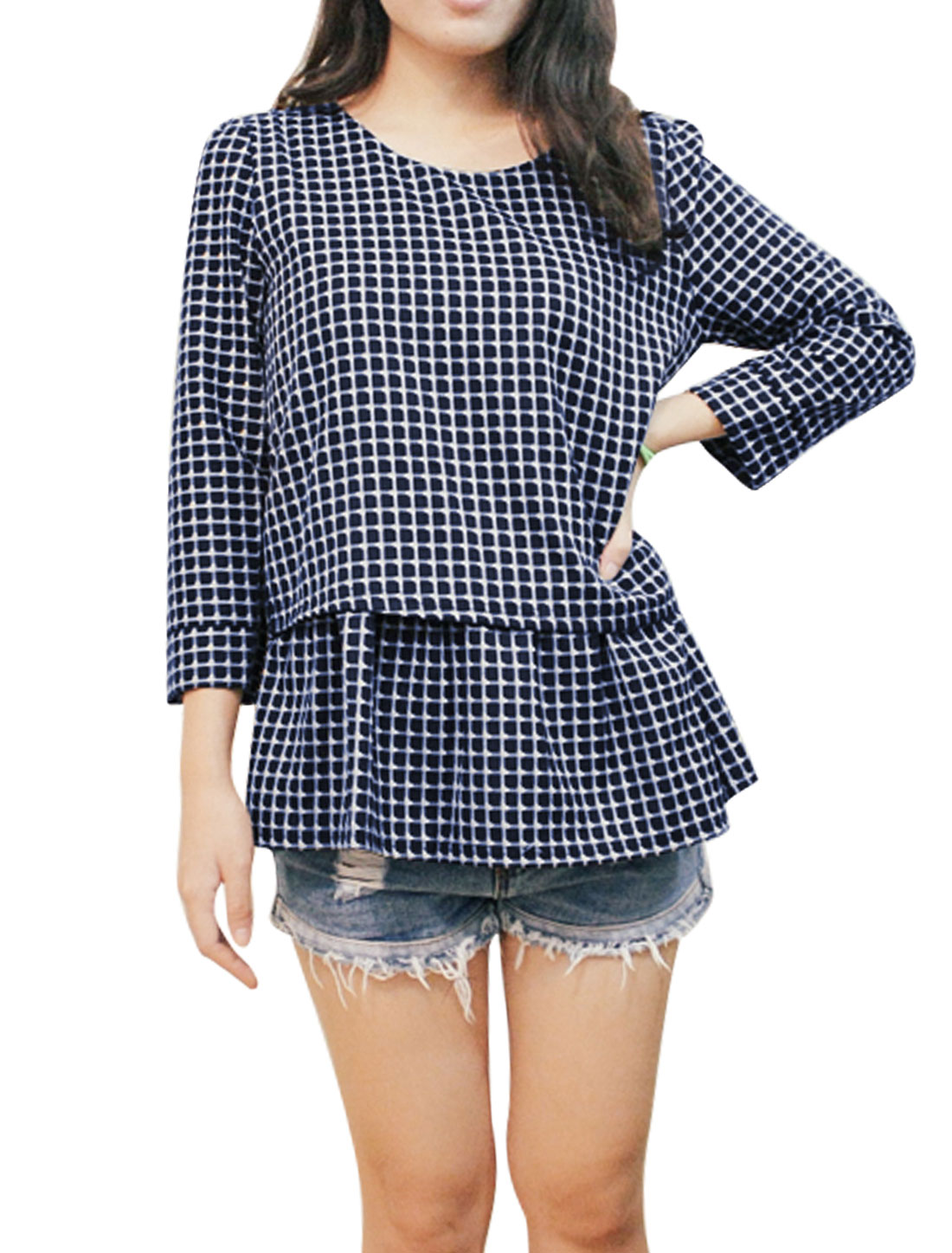 3/4 Sleeves Plaids Layered Shirts Tunic Top for Women Navy Blue XS