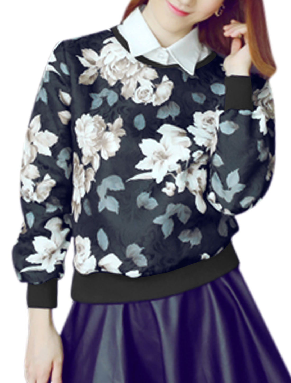 Ladies Navy Blue Slipover Flower Prints Removable Collar Casual Sweatshirt XS