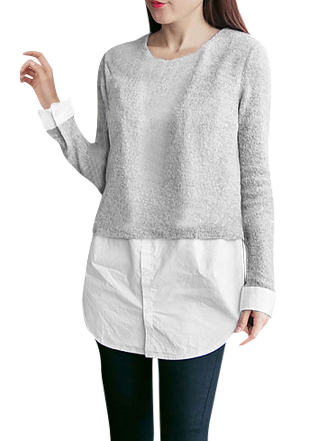 Women Panel Layered Tunic Knit Shirt Light Gray XS