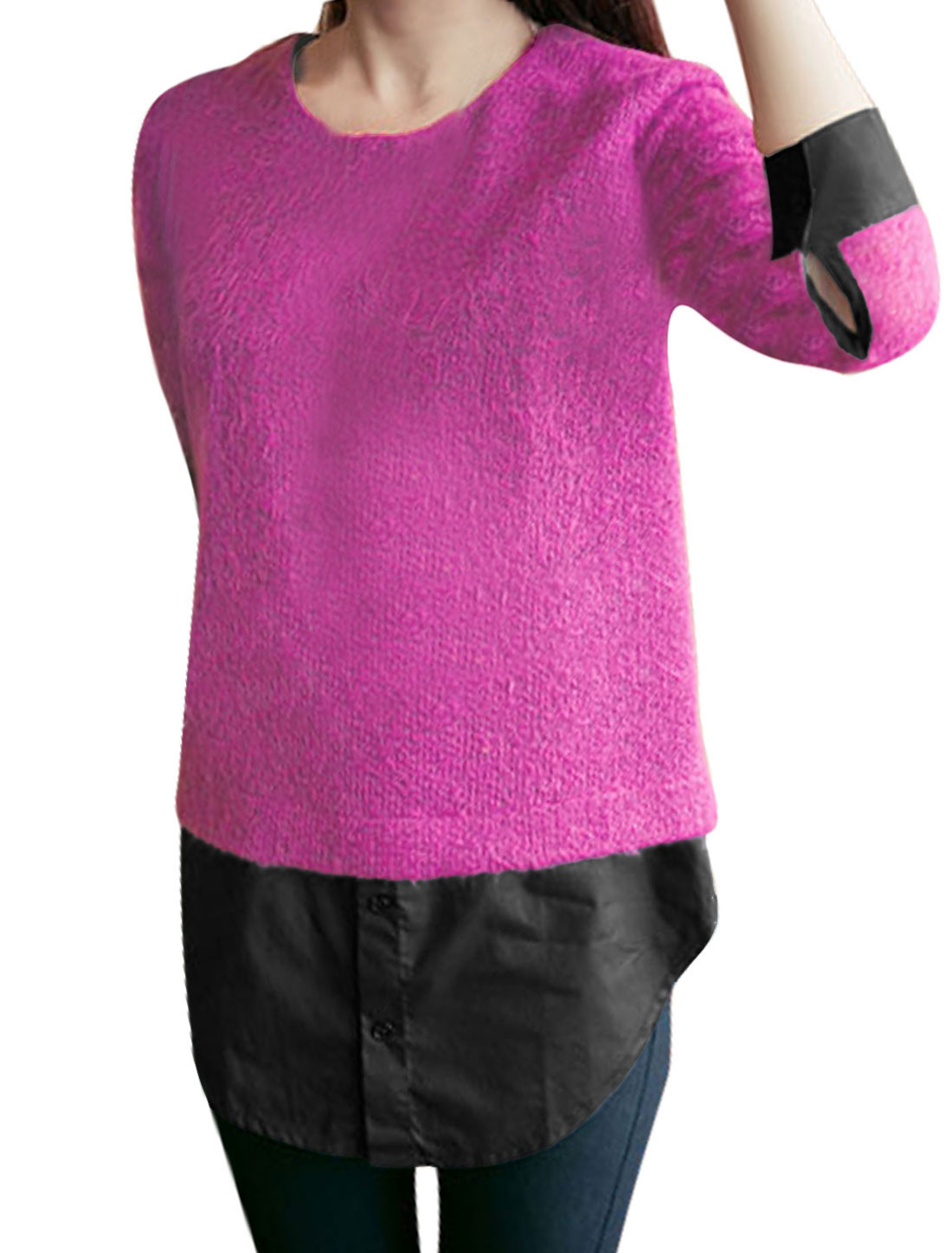 Ladies Long Sleeves Panel Design Fuchsia Tunic Knit Shirt XS